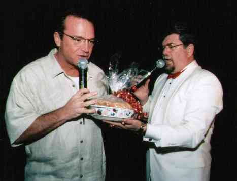 Northwest Benefit Auctions founder Jay Fiske with actor Tom Arnold at a charity fundraising event for the San Diego Center for Children.