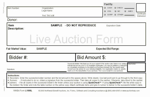 Northwest Benefit Auctions  Live Auction Bid Forms