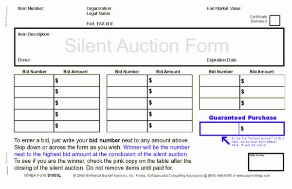 Northwest Benefit Auctions  Silent Auction Forms